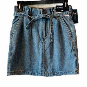 NWT Hollister Denim Skirt Blue Ultra High Waist 0